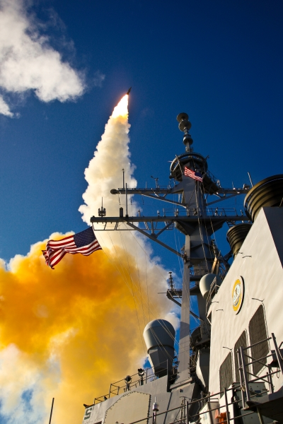 Missile Being Launched from Ship